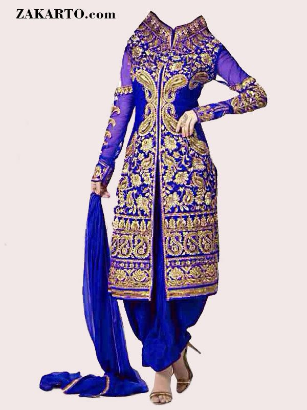 EMBROIDERED BLUE GEORGETTE SEMI STITCHED SALWAR SUIT WITH DUPATTA
