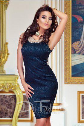 Rochie de Ocazie Midi Bleumarin Attractive Dark Blue