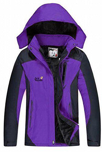 FLCH+YIGE Womens Fashion Mountain Waterproof Fleece Ski Jacket Windproof  Rain Jacket Purple L Best Winter Coats for Women USA 15665ac06