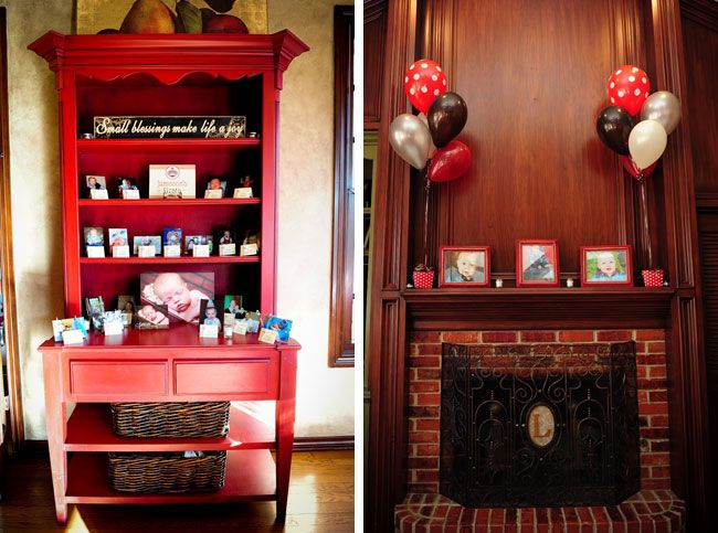 I really love this idea! To highlight all of Jameson's firsts, Jennifer decorated a hutch with photos of all of his milestones. Each photo was labeled with an individually personalized buffet card. {all printables by chickabug.com}