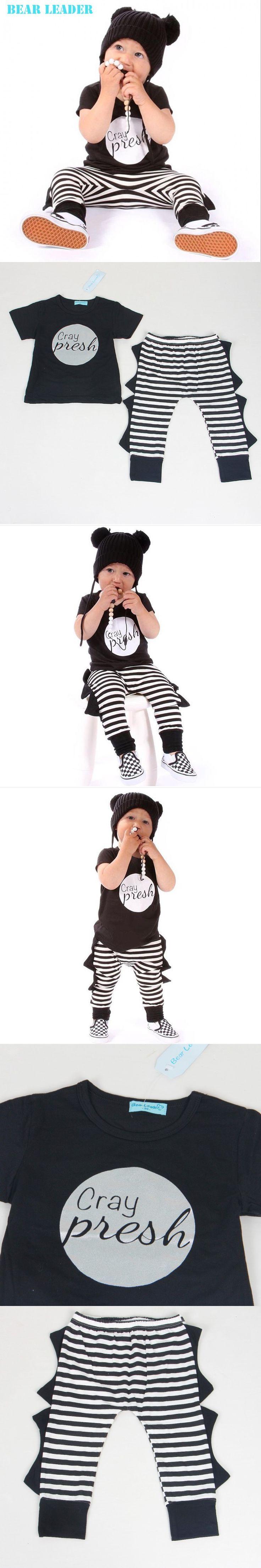 Bear Leader Baby Boys Clothing Sets 2016 New Summer&Spring Boy dinosaur Suit Black Letter Short Sleeve+Striped pants 2pcs Suits