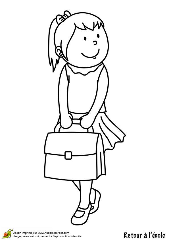 A colorier, une fille qui porte son cartable pour aller à l'école