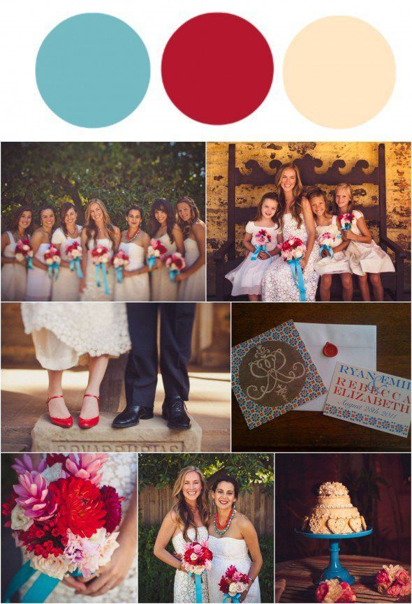 Blue, Red & Cream Wedding Color Inspiration || Bella Collina Weddings