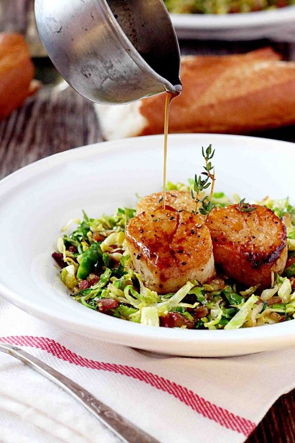 Valentine's Day Dinner! Seared Scallops on Shredded Brussels Sprouts and Crispy Pancetta with step by step photos. Plus a New West KnifeWorks Giveaway. I can hear them scream from here...