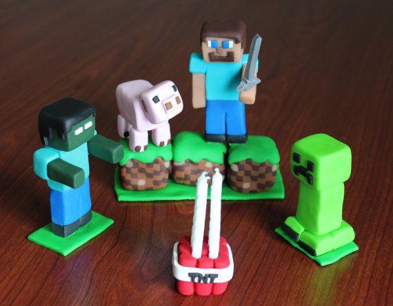 Minecraft Inspired Birthday Cake topper. Five by ArtsyVartsy, $45.00