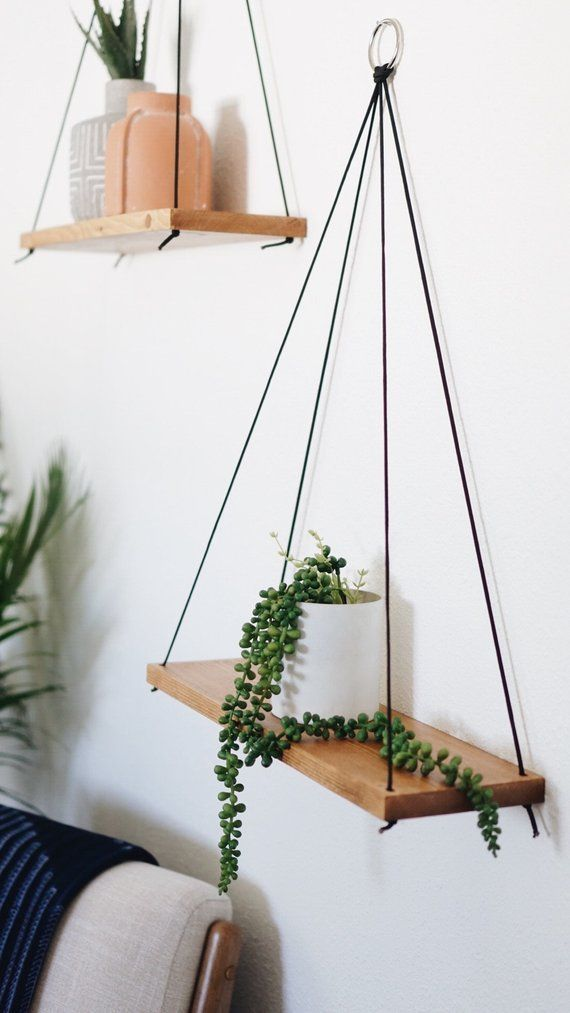 Hanging Shelves / Set of 2 Large Shelves / Floating Shelves / #homedecor #diy #…