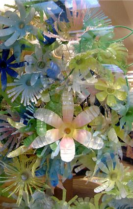 Flowers with plastic bottles