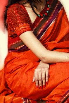Orange Khadi Handloom Saree