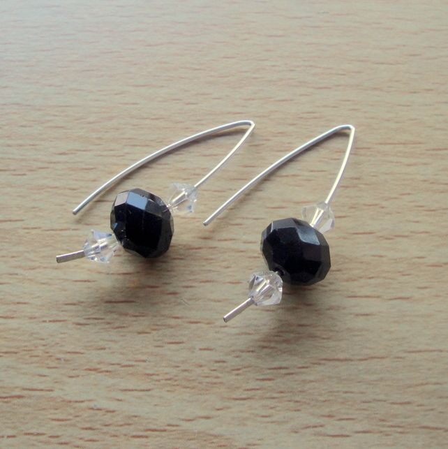 Sterling Silver with Black Swarovski Crystals Earrings