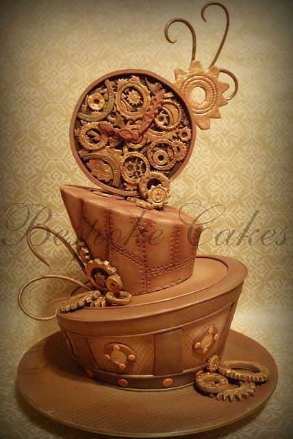 Steampunk madhatter wedding cake by Bespoke Cakes, via Flickr.