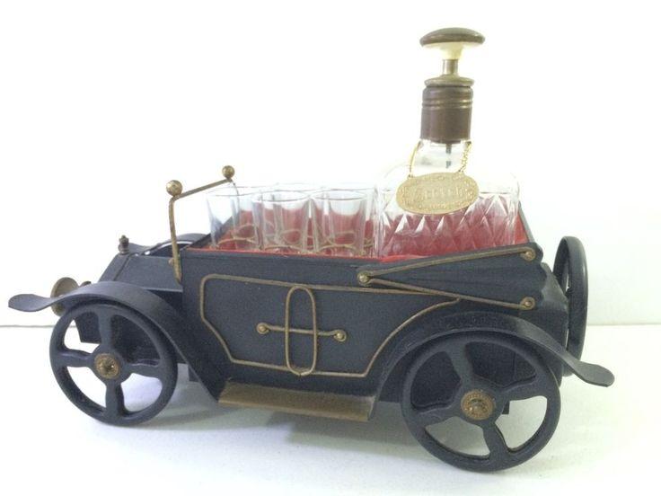 Vintage Musical Model-T Car SCOTCH/GIN Decanter 6 SHOT Glasses Wind-up RETRO #eBayDanna