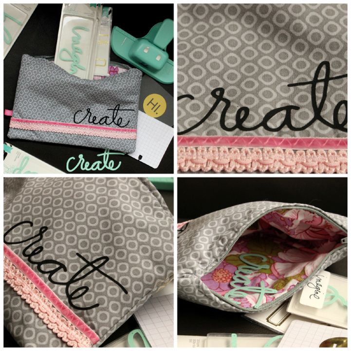 USING HEIDI SWAPP WORD DIES - Jot Girls feature. Stitched pouch project by Mardi Winen using cardstock + word dies.