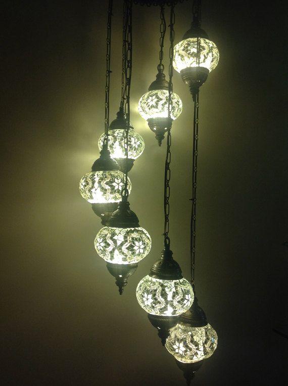 7 Ball 110 230v Turkish Moroccan Hanging Glass Mosaic Helezon Chandelier Lamp Lighting