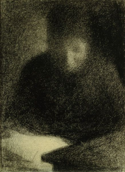 Georges Seurat Drawings | Seurat / Woman reading / Chalk Drawing - Georges Seurat as art print ...