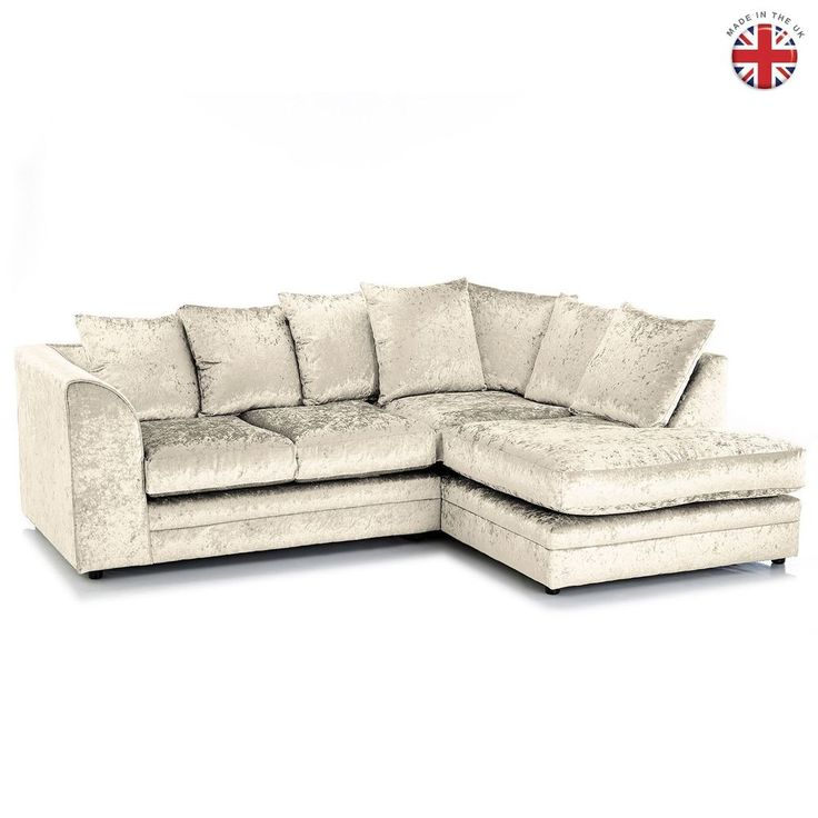DYLAN CORNER SOFA CREAM CRUSHED VELVET GLITZ  RIGHT/HAND **BRAND NEW*FOAM SEATS*