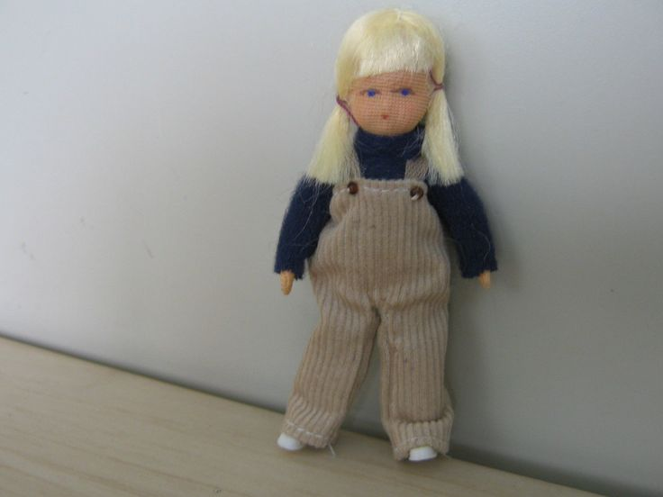 ERNA MEYER~ADORABLE BLONDE GIRL IN PIGTAILS DOLLHOUSE DOLL- GERMANY - POSEABLE | eBay
