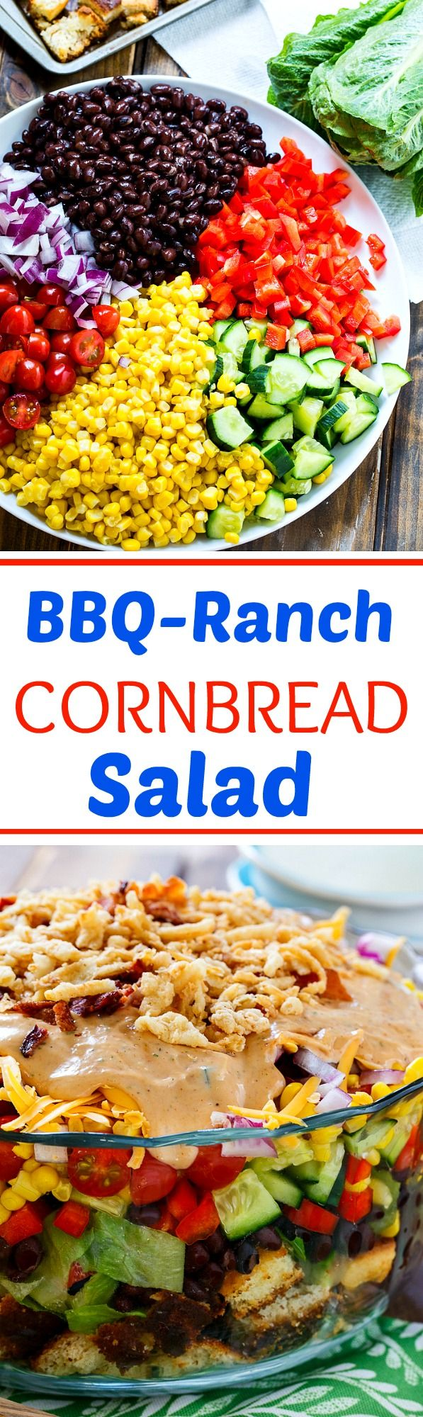 BBQ-Ranch Cornbread Salad is a southwestern twist on a southern cornbread salad. Perfect for potlucks and picnics.  Can be made ahead of time and feeds a hungry crowd.