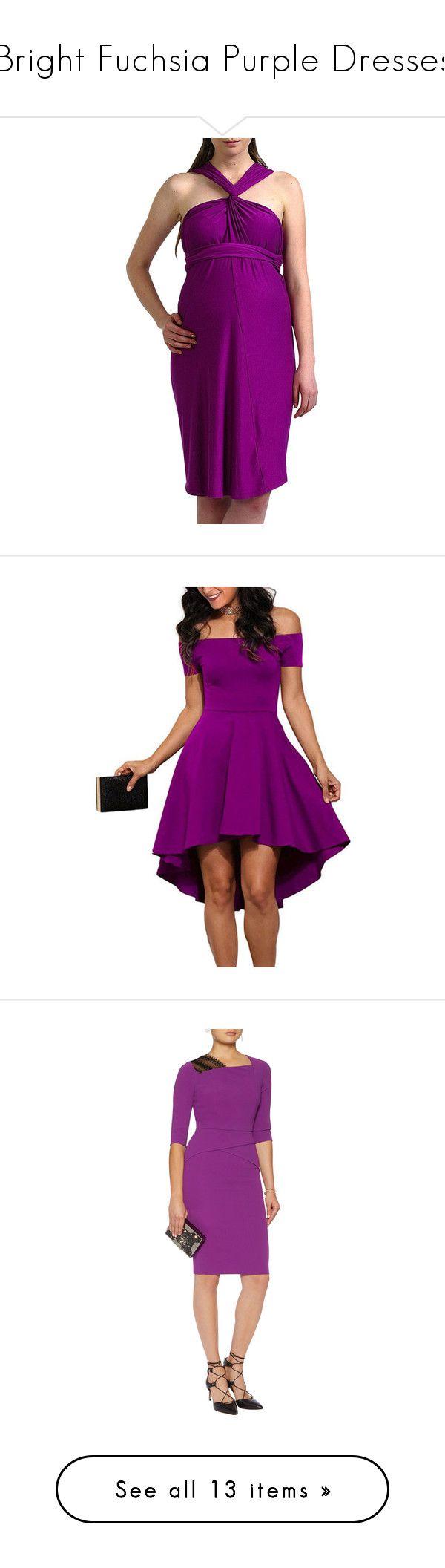 """Bright Fuchsia Purple Dresses"" by tegan-b-riley on Polyvore featuring plus size, dresses, purple, sleeved dresses, purple dresses, purple off the shoulder dress, hi low dress, hi lo dress, roland mouret dress and crepe dress"