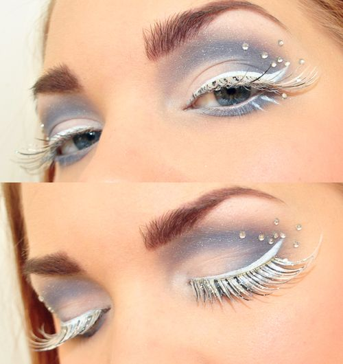 Snow Queen inspired eye make-up with crystal accents and white icy lashes.
