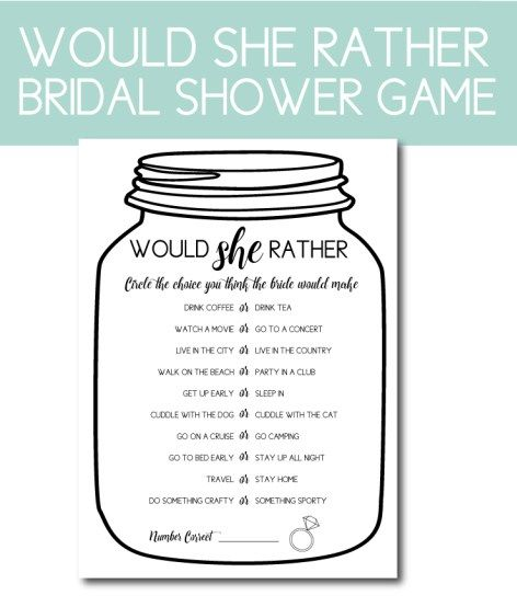 e66eebb210b Would She Rather Bridal Shower Game. Plan the perfect bridal shower with  our planning tips