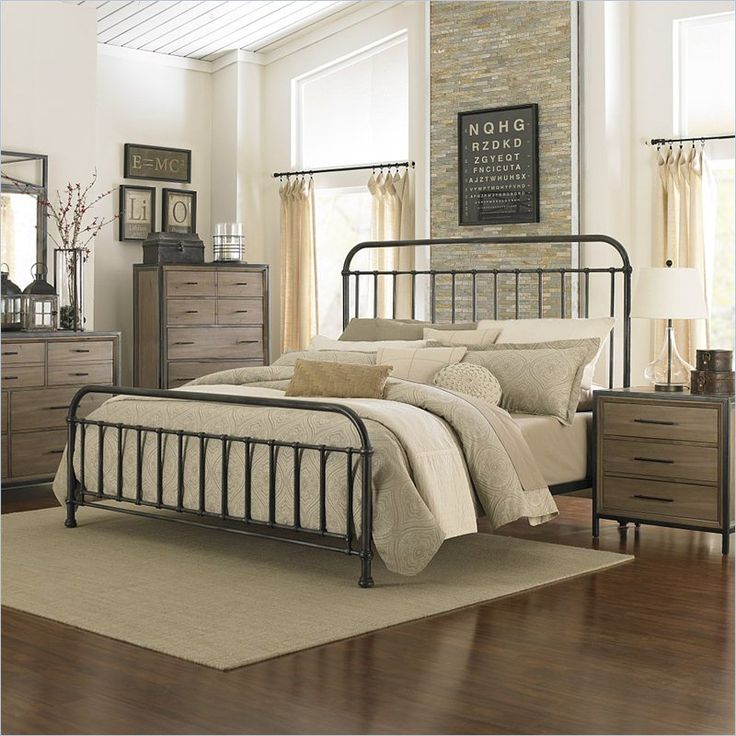 Lowest price online on all Magnussen Shady Grove Bed in Antiqued Natural and Gun Metal - B2111-XXX-MKIT