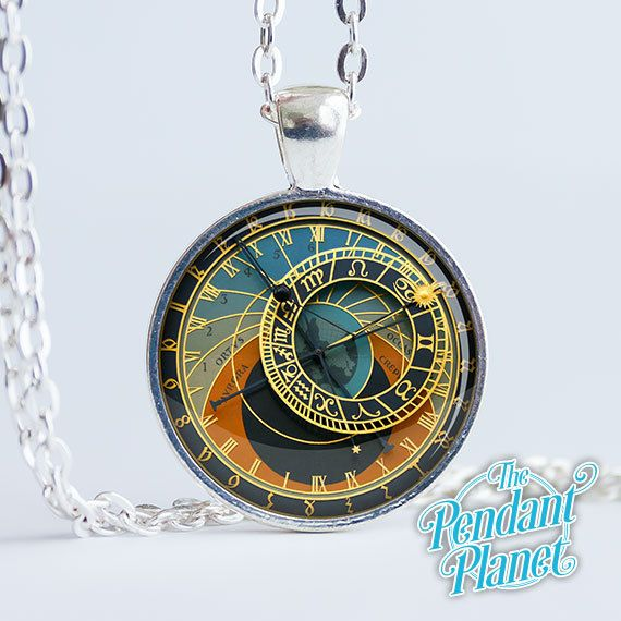 Astronomical Clock necklace astronomy jewelry