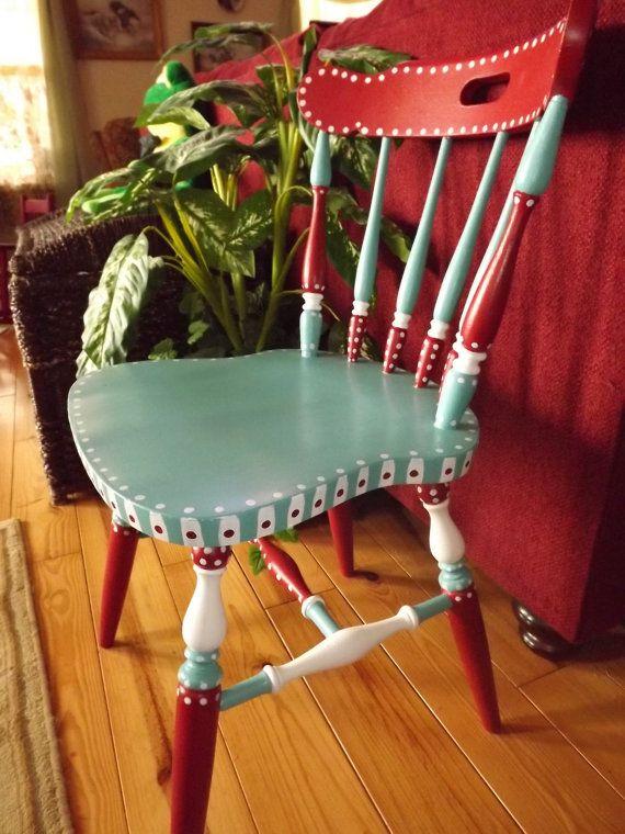 Handpainted Whimsical Art Chair Gypsy Folk Art by FolkArtDreams, $180.00