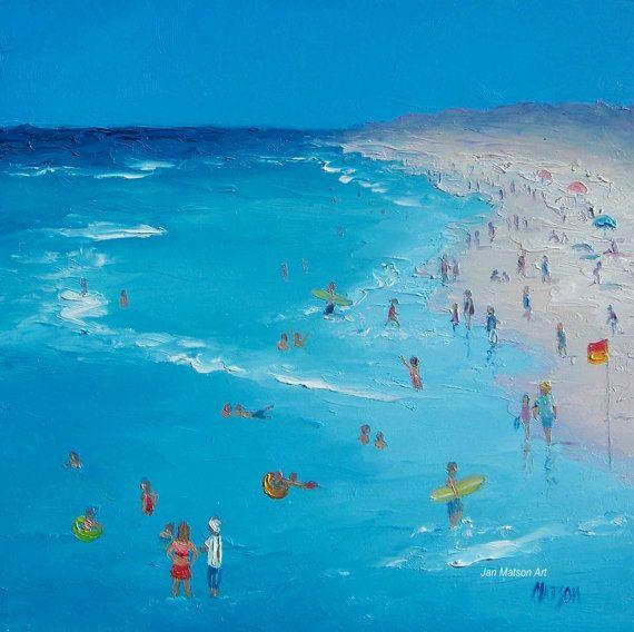 Beach Painting Swimming Art Ocean Painting Seascape