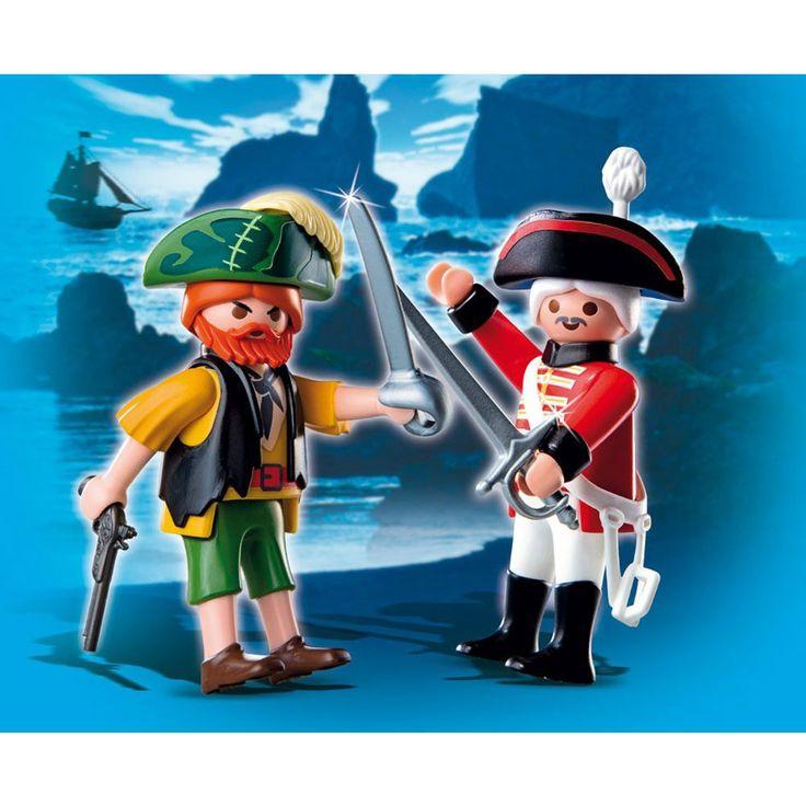 """Playmobil Piraci Duo Pack Pirat i żołnierz """"Czerwonych kurtek"""", 4127, klocki"""