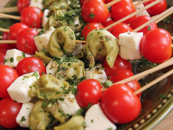 Tortellini Skewers Recipe : Ree Drummond : Food Network - FoodNetwork.com -- I would use cheese tortelli and substitute salami for mozzarella