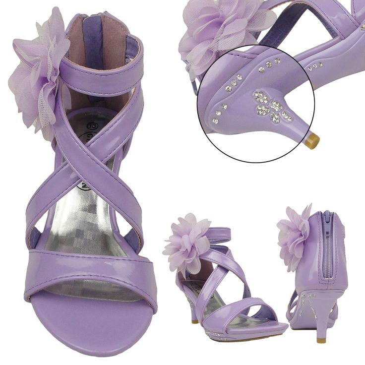 Girls Dress Sandals Strappy Rhinestones High Heel Flower Lilac Youth Kids, dress shoes, Perfect for special occasion like wedding and party. Cute and adorable, purple