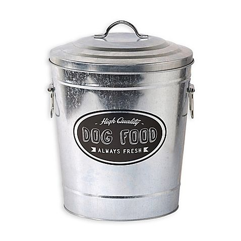 Store your pet's favorite dry food with the stylish Galvanized Steel High Quality Dog Food Storage Bin. With a fun and playful design on the front, this steel storage bin can fit in well no matter where you decide to put it.