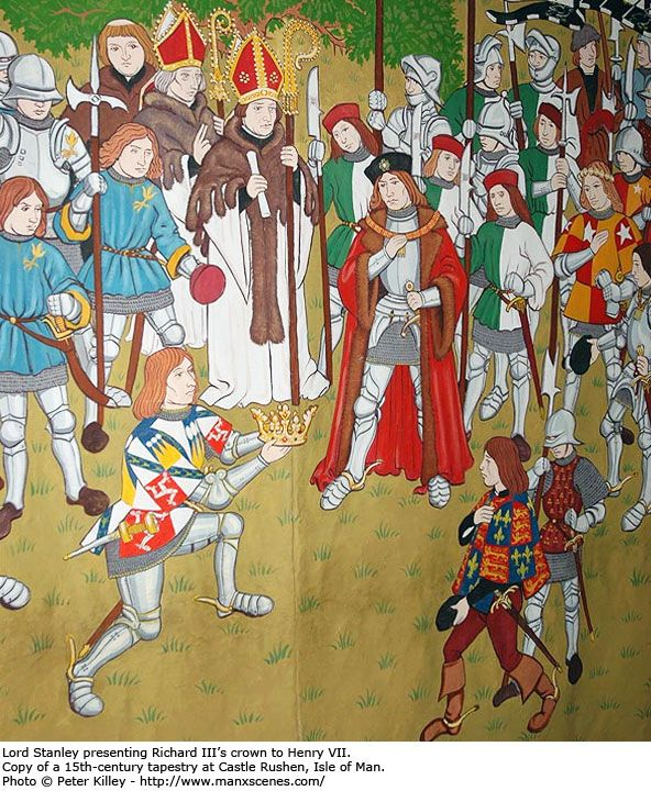 Lord Stanley presenting the crown to Henry VII - Castle Rushen tapestry
