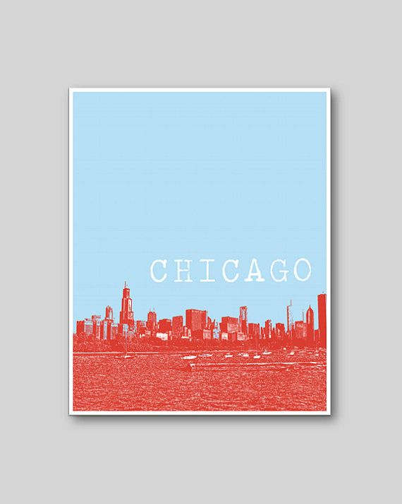3 Chicago Prints - Chicago Skyline, Marina Towers, Navy Pier - Size: 8x10 on Etsy, $26.00