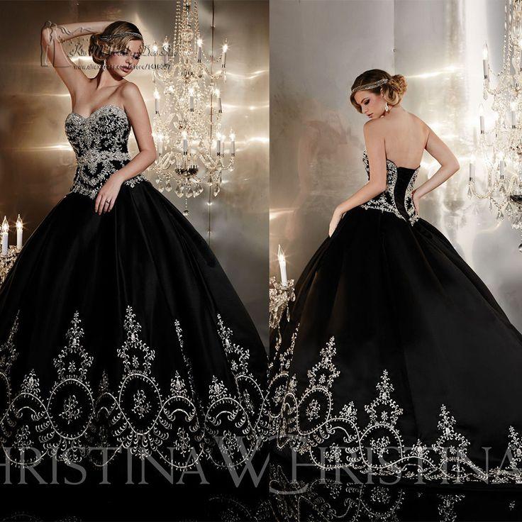 Black Gothic Wedding Dresses Ball Gown Embroidery Wedding Dress Long Bridal Gown Lace up Back Vestidos de Noiva 2015 Louisvuigon
