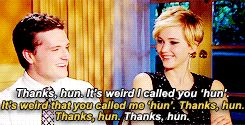 """When they both made fun of calling each other """"hun"""" and it was pleasant to watch:   27 Times Jennifer Lawrence and Josh Hutcherson Proved They Have The Best Offscreen Relationship Ever"""