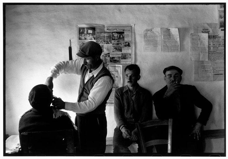 "Constantine Manos. Greece. Thrace. 1964. Men in a barbershop. ""A Greek Portfolio"" p.58. © Costa Manos/Magnum Photos"