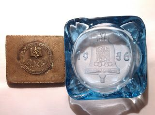 FOR SALE BERLIN 1936 OLYMPIC GAMES CIGARETTE CASE ASHTRAY BADGE MARKED SIGNED THIRD REICH PRICE $499