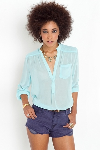 Sheer chiffon blouse in neon colors. Yesssss