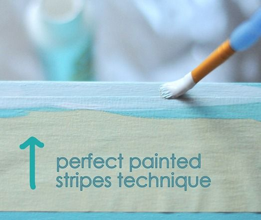 Do you know the best way to get perfectly painted stripes? I learned this from readers (thank you!) and wrote about it here. Use the base paint to seal your painter's tape, then paint over it with your stripe color. Peel up the tape while the second coat of the stripe color paint is still wet, it works every time!