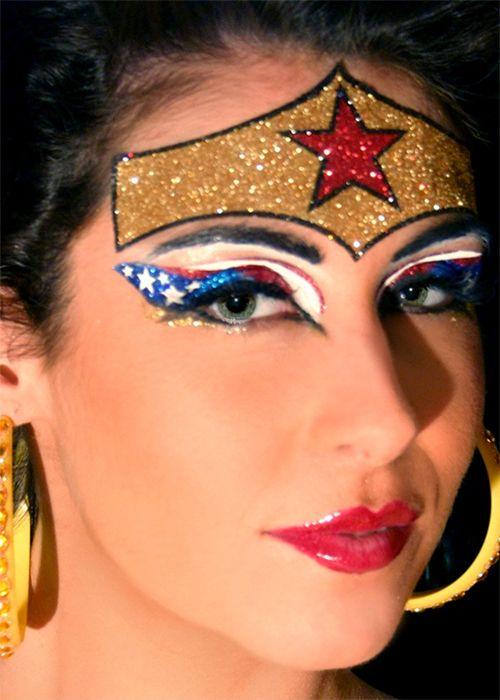 Glittery Wonder Woman Halloween costume makeup