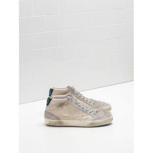 Kaufen Golden Goose Mid Star GGDB Damen Sneakers Grau Blau