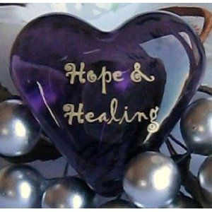 Purple Glass Heart 'Hope & Healing'