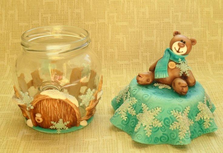 лепка холодный фарфор новый год рождество декор мишка