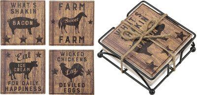 Farmhouse Stone Coaster Set - Set Of 2