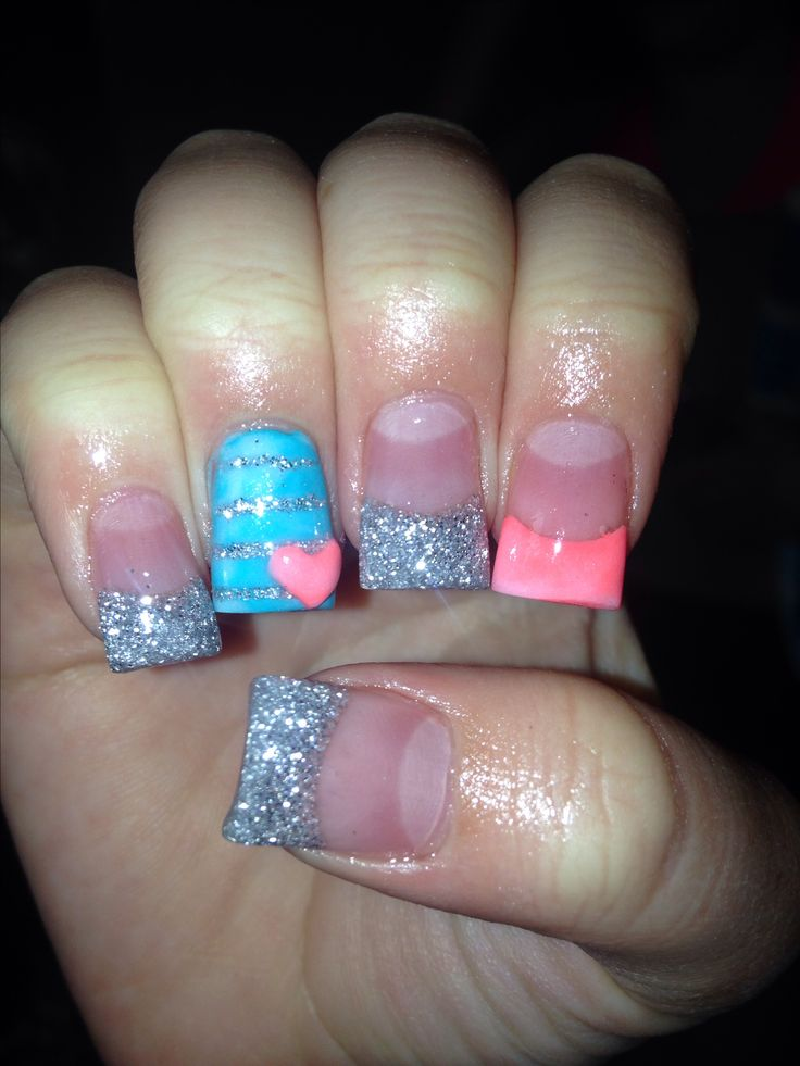 Acrylics nails with silver, teal, and salmon colors. A chevron line instead of straight and no heart.  Perfect!