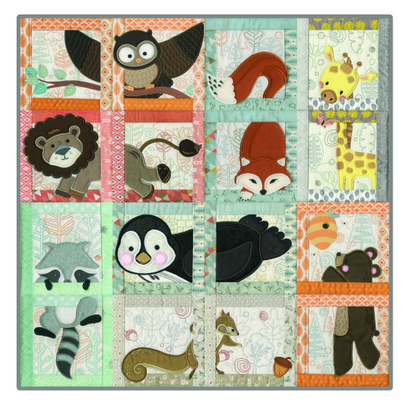 Love this machine embroidered baby quilt - anitagoodesign.com