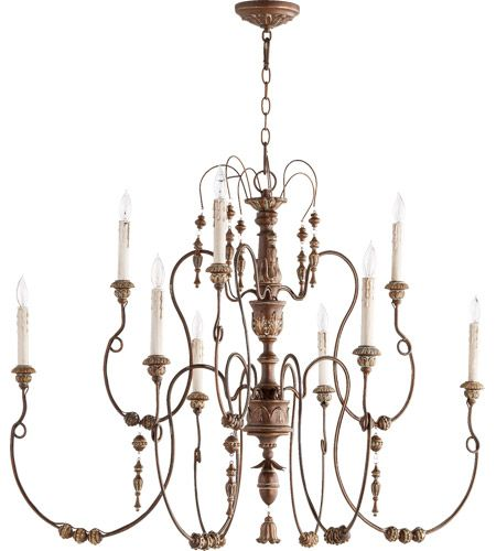 Quorum 6206 9 39 salento 9 light 41 inch vintage copper chandelier ceiling light comes with 8 feet of chain