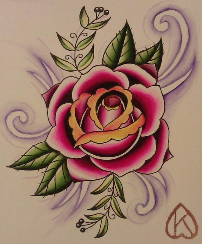 Traditional Rose Tattoo Black And Grey Designs