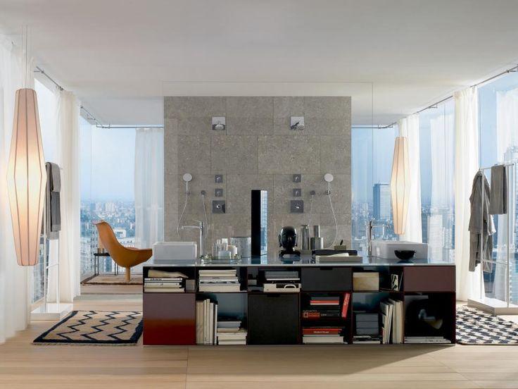 Необычное дизайнерское решение для ванной комнаты в офисном стиле. #дизайн_ванной